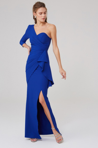 Sax crepe single sleeve maxi dress