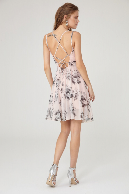 Print y27 chiffon sleeveless mini dress