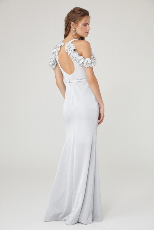 White knitted sleeveless maxi dress