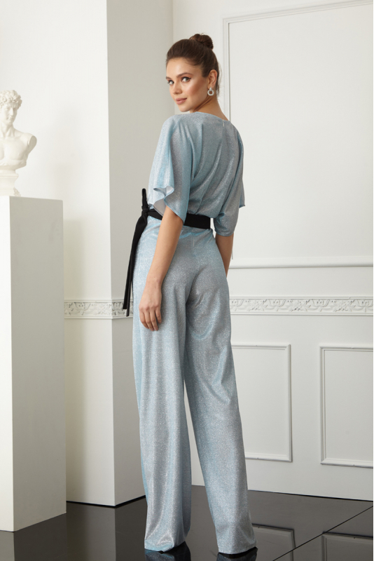 Blue sequined short sleeve maxi overall