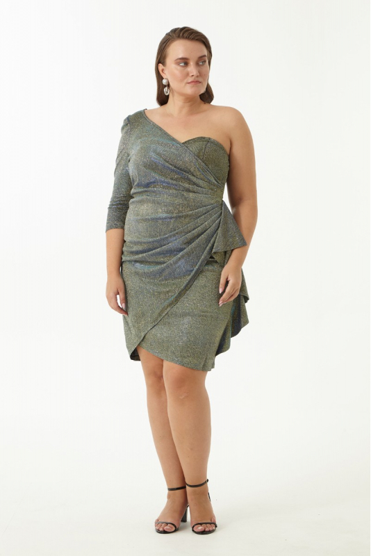 Green plus size velvet 13 mini dress