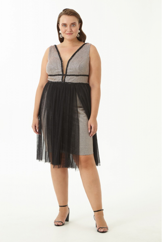 Silver plus size velvet 13 sleeveless mini dress