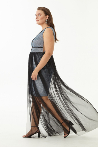 Sax plus size velvet 13 sleeveless maxi dress