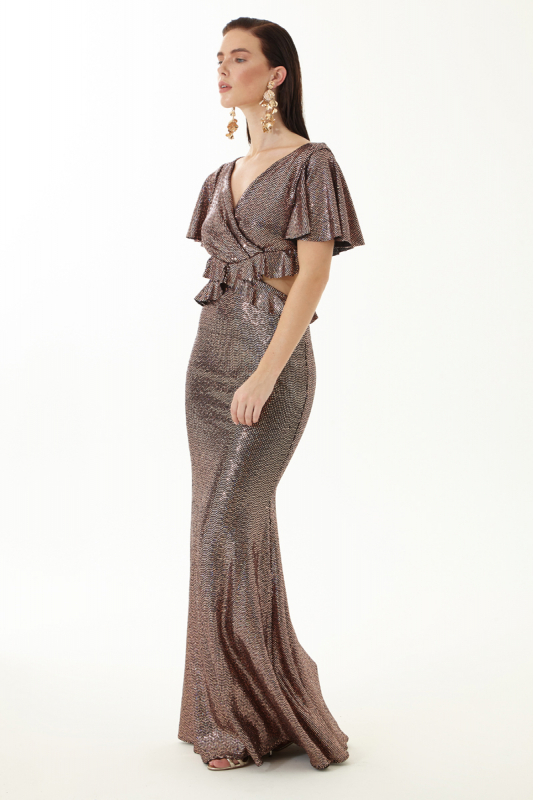 Copper sequined short sleeve maxi dress