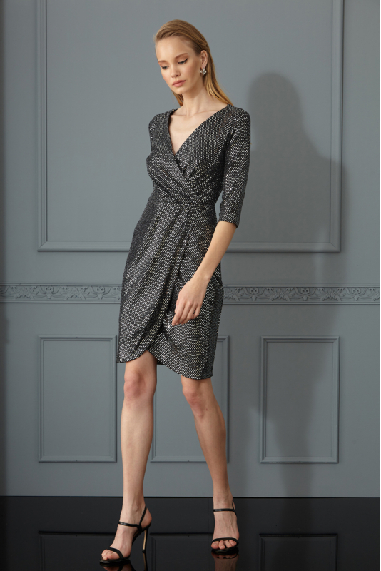 Silver velvet 13 3/4 sleeve mini dress