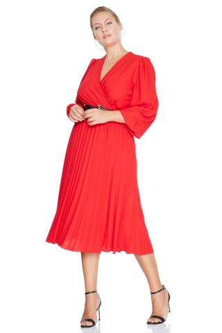 Red plus size crepe long sleeve midi dress