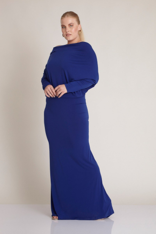 Sax plus size knitted long sleeve maxi dress