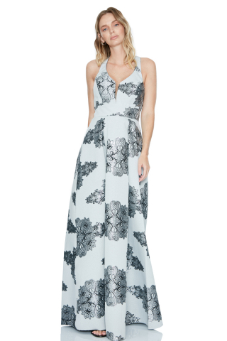 Silver jacquard sleeveless maxi dress