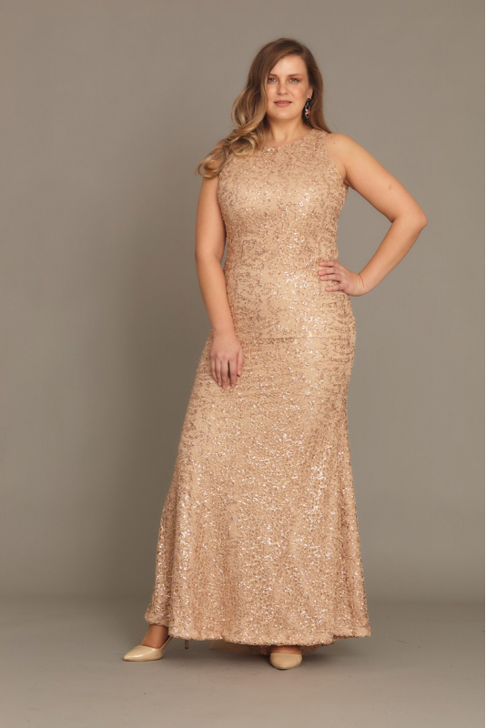 Gold plus size sequined sleeveless maxi dress