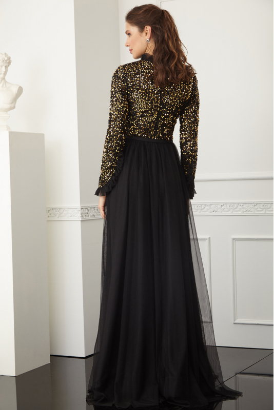 Gold sequined sequined long sleeve maxi dress