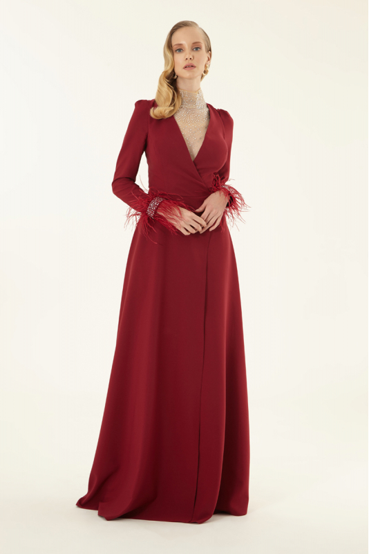 Claret red crepe long sleeve maxi dress