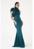 Petrol crepe single sleeve maxi dress