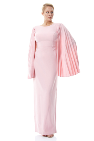 Powder plus size crepe long sleeve maxi dress