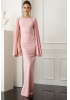 Powder crepe long sleeve maxi dress