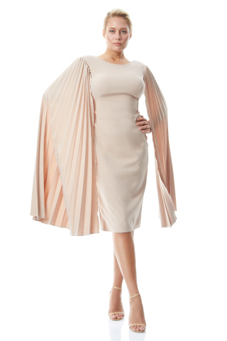 Beige plus size crepe long sleeve maxi dress