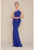 Sax crepe strapless maxi dress
