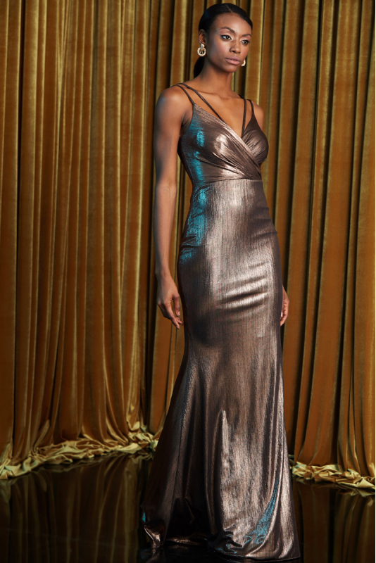 Copper knitted sleeveless maxi dress