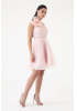 Powder tulle single sleeve mini dress