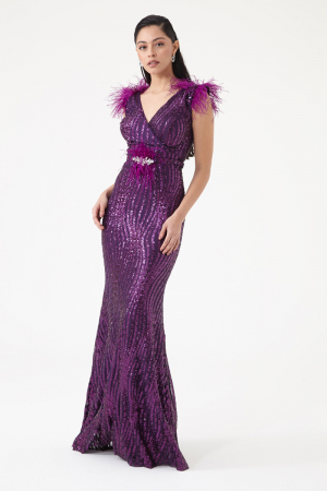 Purple sequined sleeveless maxi dress