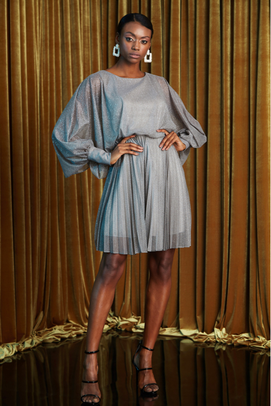 Grey tulle long sleeve mini dress