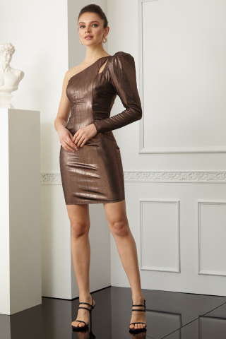 Copper knitted single sleeve mini dress