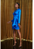 Sax satin long sleeve mini dress