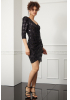 Print y56 sequined crepe single sleeve mini dress