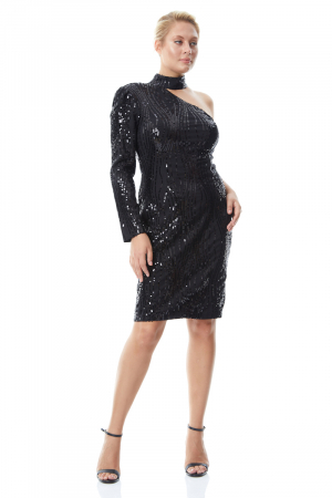 Print y60 plus size sequined single sleeve mini dress