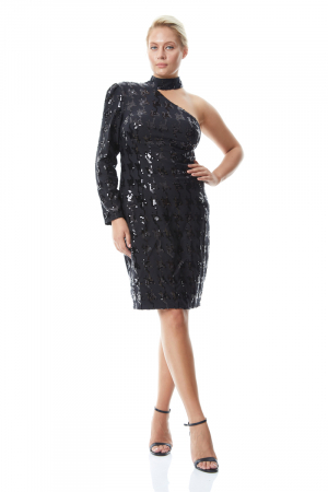 Print y58 plus size sequined single sleeve mini dress