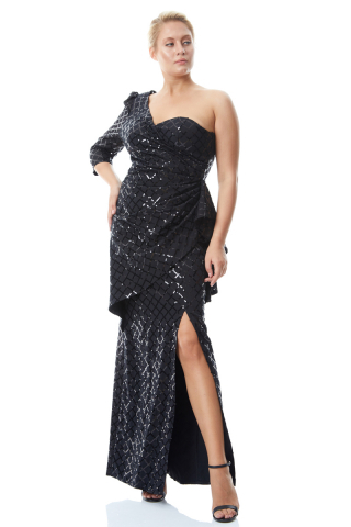Print y59 plus size sequined crepe single sleeve maxi dress