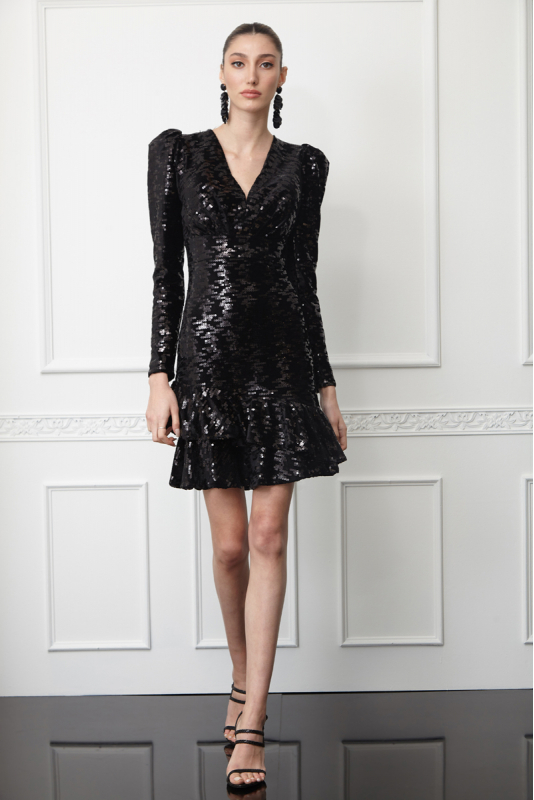 Print y58 sequined long sleeve mini dress