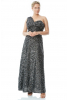 Silver plus size sequined single sleeve maxi dress