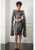 Print y65 sequined crepe long sleeve midi dress