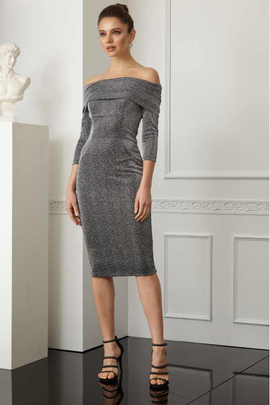 Silver knitted long sleeve midi dress