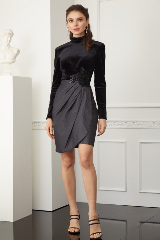 Grey satin long sleeve mini dress