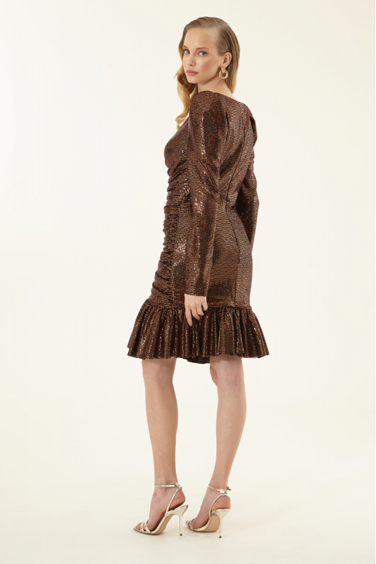 Copper sequined long sleeve mini dress