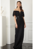 Black lace strapless maxi dress