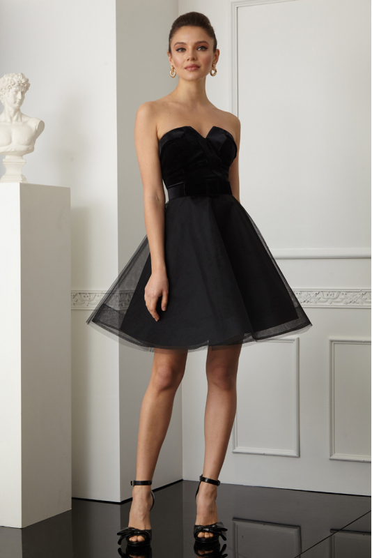 Black velvet strapless mini dress