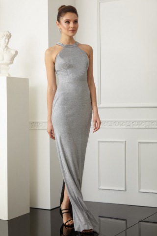 Silver velvet 13 sleeveless maxi dress
