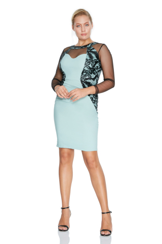 Mint green plus size crepe long sleeve mini dress