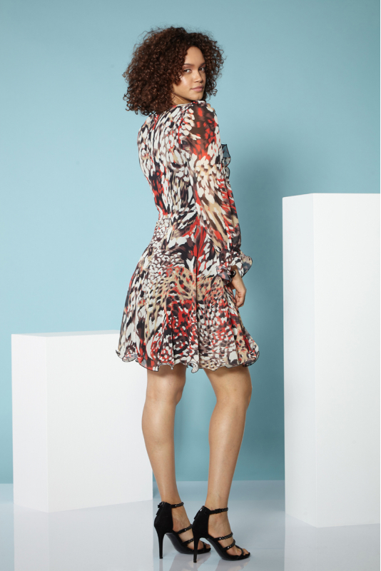 Print f73 chiffon short sleeve midi dress