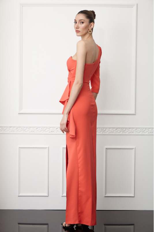 Orange crepe single sleeve maxi dress
