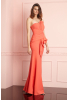 Orange crepe strapless maxi dress