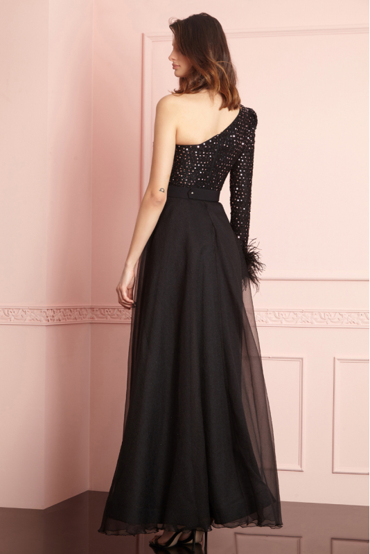 Powder sequined single sleeve maxi dress