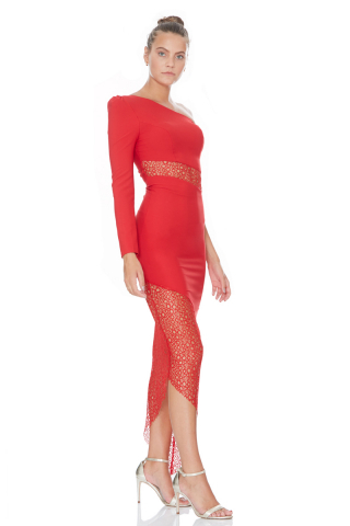 Red crepe single sleeve midi dress