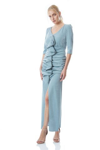 Mint green velvet 13 3/4 sleeve maxi dress