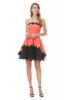 Orange crepe strapless mini dress