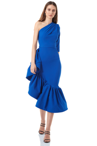 Sax crepe single sleeve midi dress