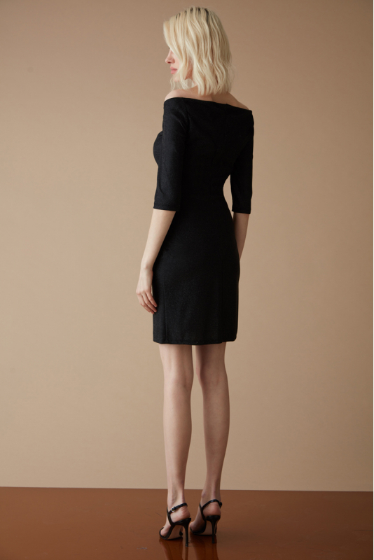 Black velvet 13 long sleeve mini dress