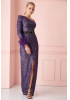 Purple sequined single sleeve maxi dress